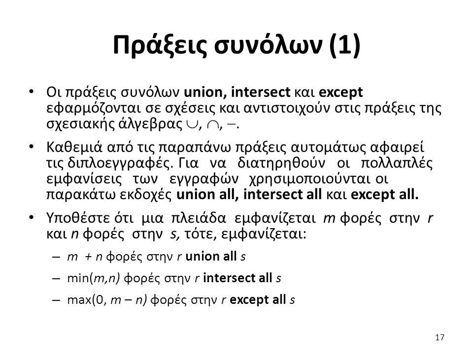 Πράξεις συνόλων (1)