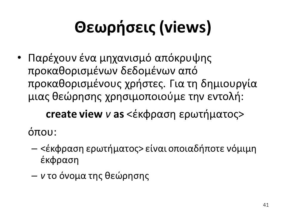 Θεωρήσεις (views)