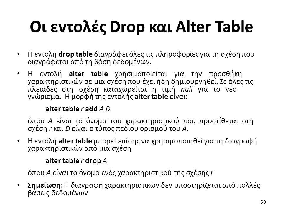 Οι εντολές Drop και Alter Table
