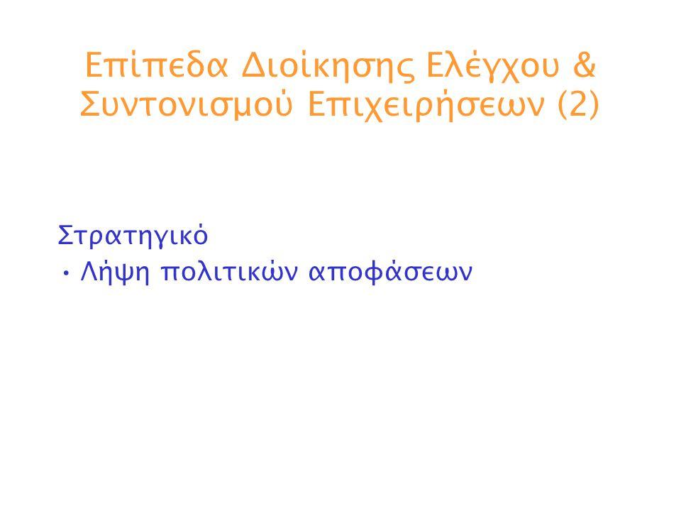 Επίπεδα Διοίκησης Ελέγχου & Συντονισμού Επιχειρήσεων (2)