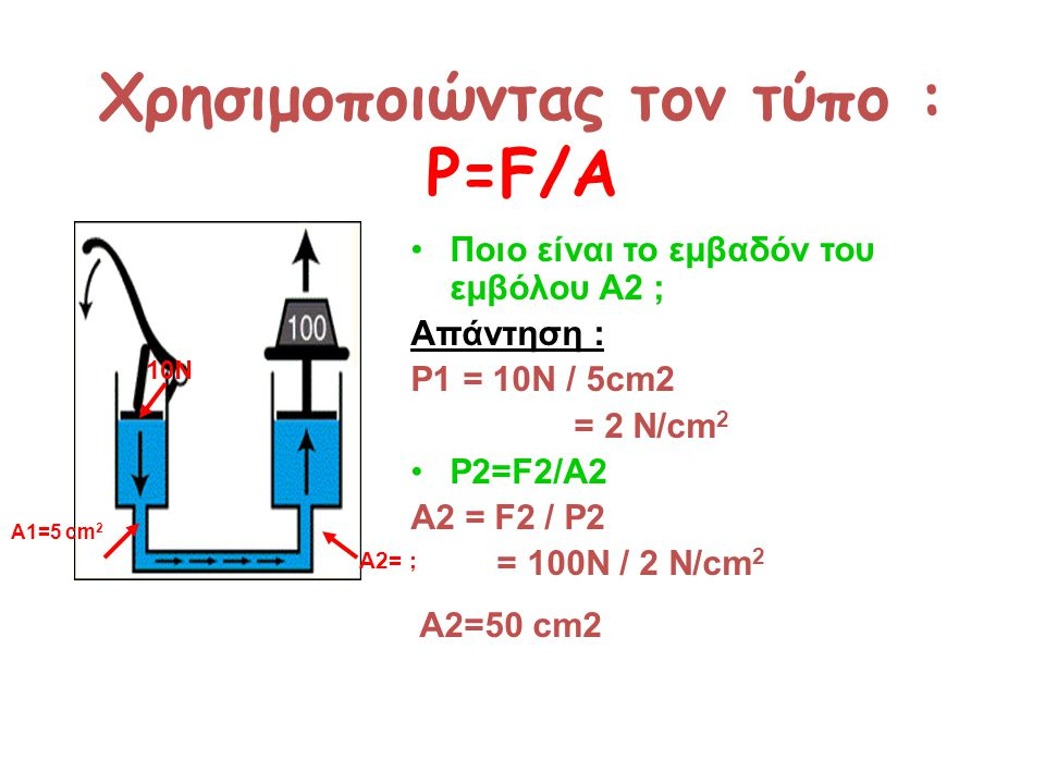 Χρησιμοποιώντας τον τύπο : P=F/A
