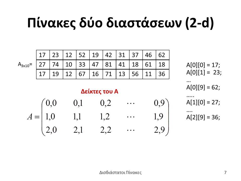 Πίνακες δύο διαστάσεων (2-d)
