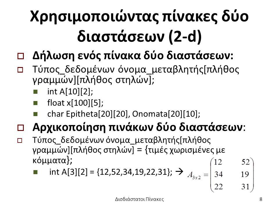 Χρησιμοποιώντας πίνακες δύο διαστάσεων (2-d)