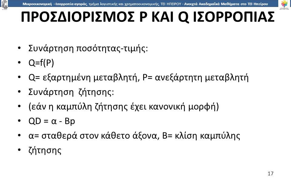 ΠΡΟΣΔΙΟΡΙΣΜΟΣ P ΚΑΙ Q ΙΣΟΡΡΟΠΙΑΣ