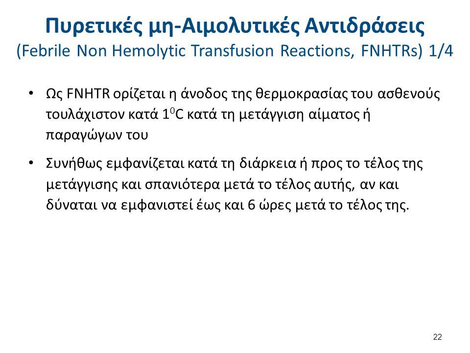 Πυρετικές μη-Αιμολυτικές Αντιδράσεις (Febrile Non Hemolytic Transfusion Reactions, FNHTRs) 2/4