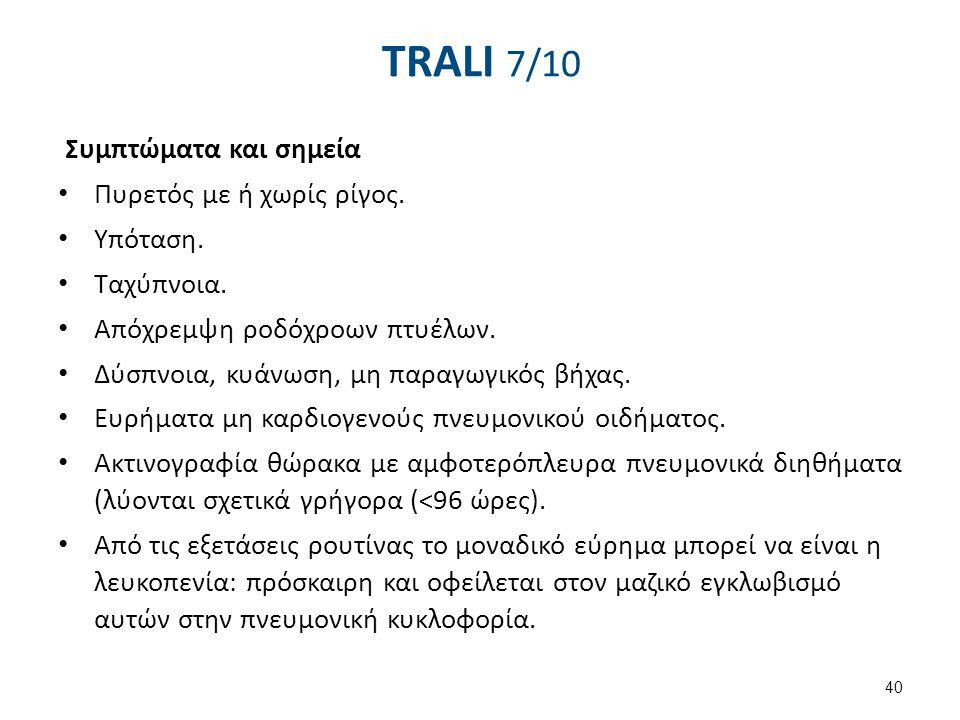 TRALI 8/10 Κριτήρια διάγνωσης