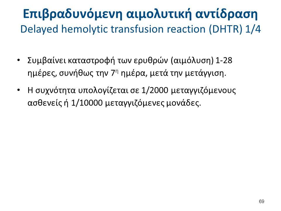 Επιβραδυνόμενη αιμολυτική αντίδραση Delayed hemolytic transfusion reaction (DHTR) 2/4