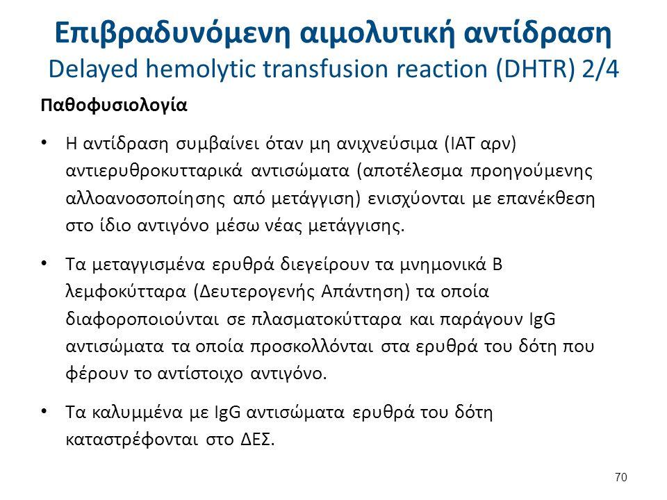 Επιβραδυνόμενη αιμολυτική αντίδραση Delayed hemolytic transfusion reaction (DHTR) 3/4