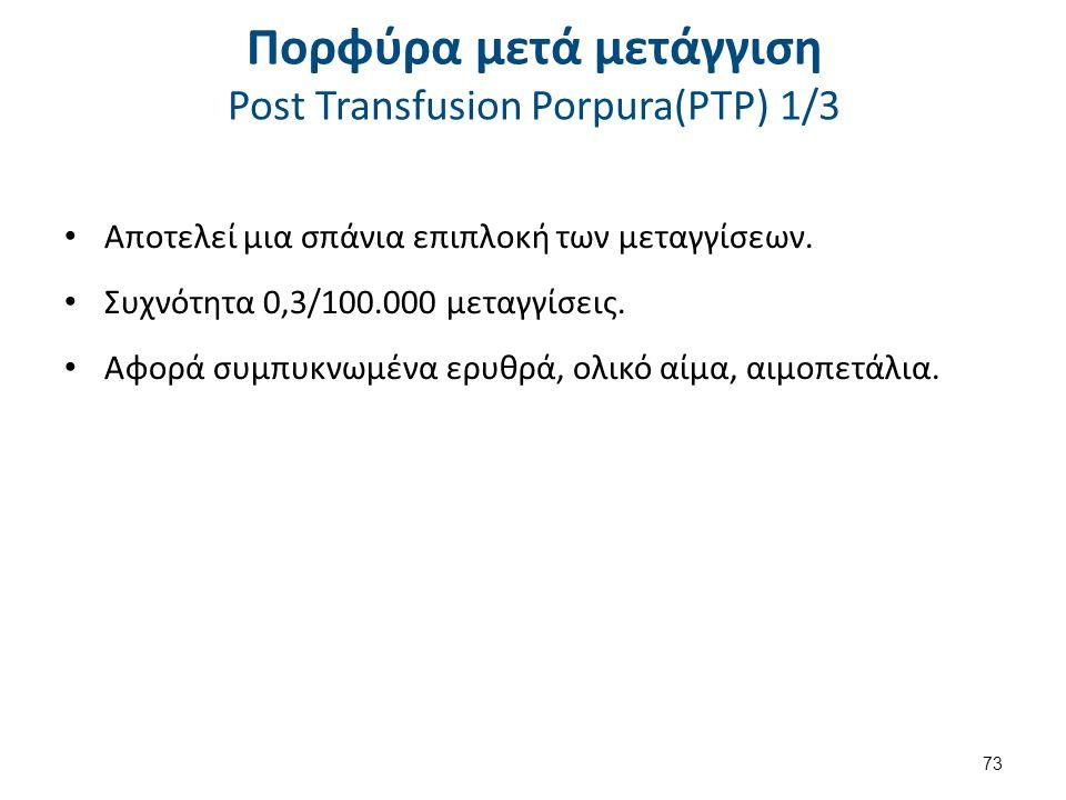 Πορφύρα μετά μετάγγιση Post Transfusion Porpura(PTP) 2/3