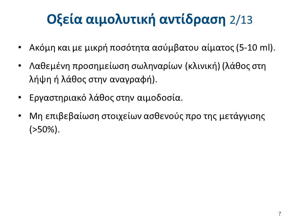 Οξεία αιμολυτική αντίδραση 3/13