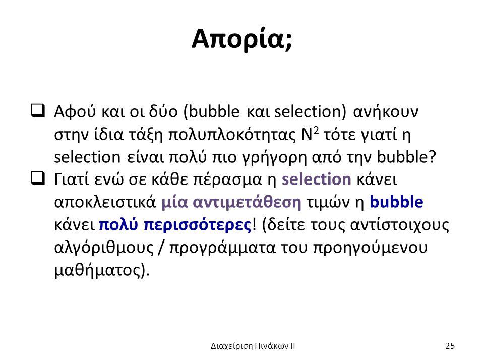 Απορία; Αφού και οι δύο (bubble και selection) ανήκουν στην ίδια τάξη πολυπλοκότητας Ν2 τότε γιατί η selection είναι πολύ πιο γρήγορη από την bubble