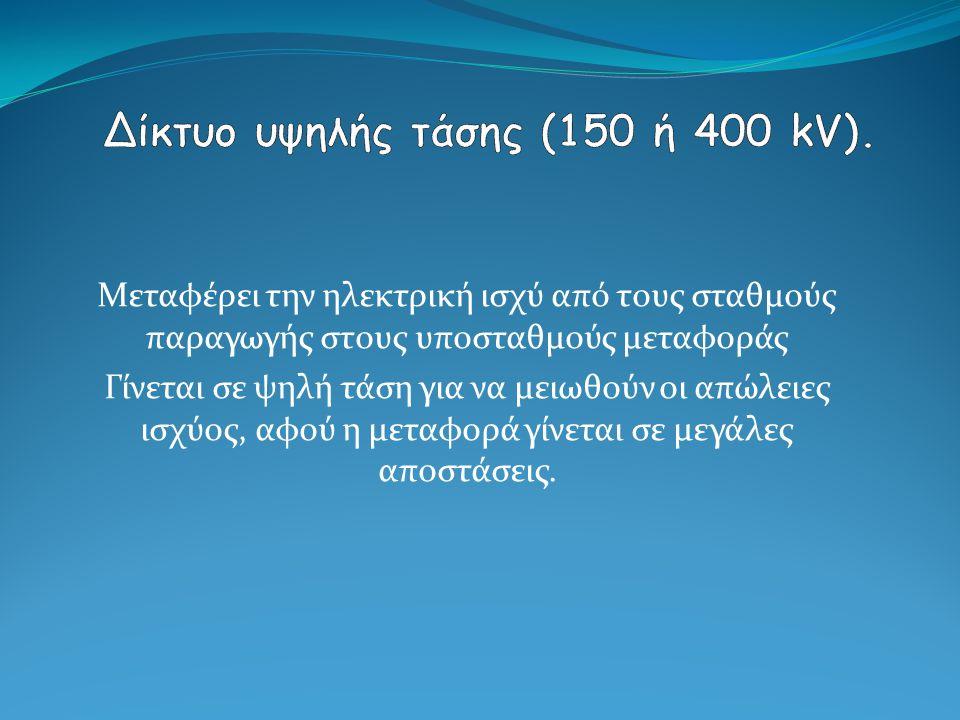 Δίκτυο υψηλής τάσης (150 ή 400 kV).