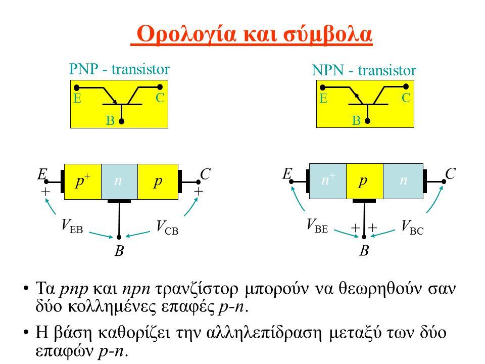 Ορολογία και σύμβολα Τα pnp και npn τρανζίστορ μπορούν να θεωρηθούν σαν δύο κολλημένες επαφές p-n.