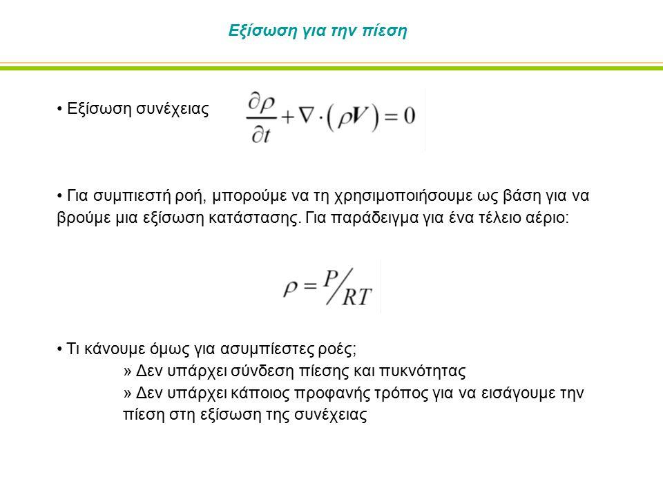 Εξίσωση για την πίεση Εξίσωση συνέχειας.
