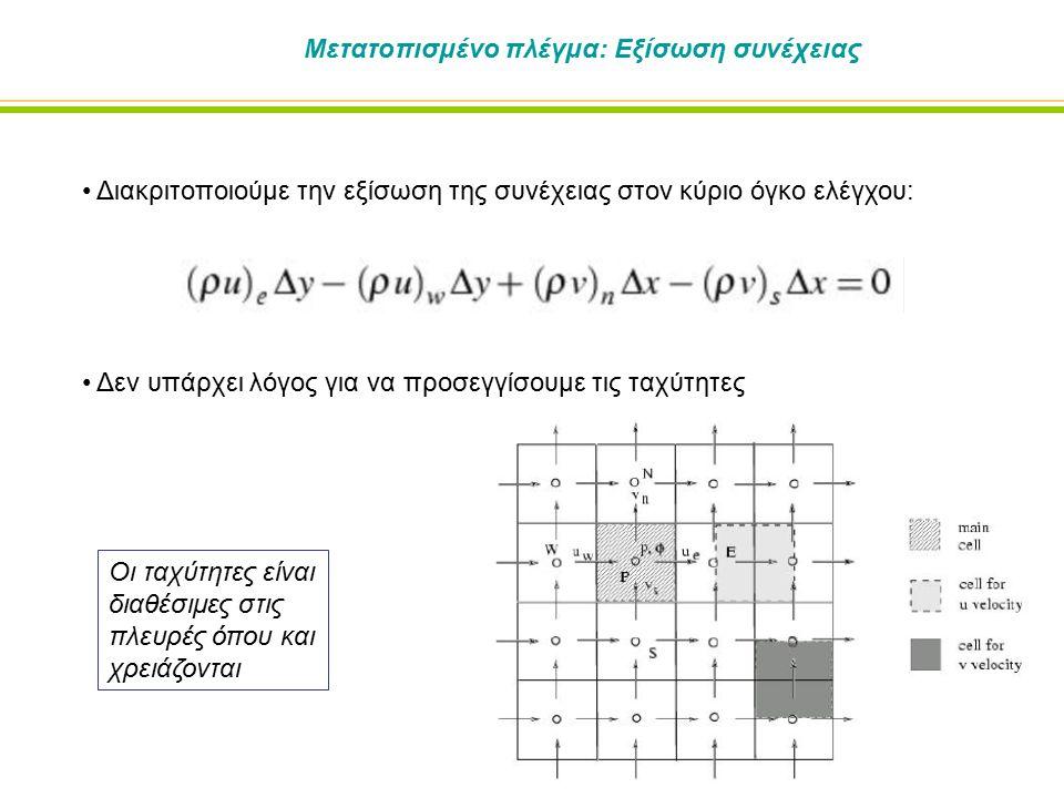 Μετατοπισμένο πλέγμα: Εξίσωση συνέχειας