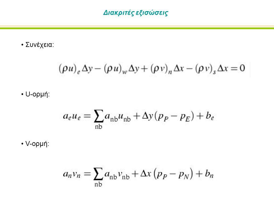 Διακριτές εξισώσεις Συνέχεια: U-ορμή: V-ορμή: