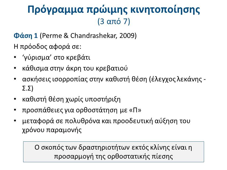 Πρόγραμμα πρώιμης κινητοποίησης (4 από 7)