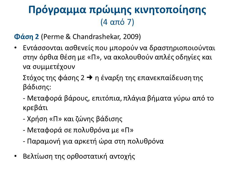 Πρόγραμμα πρώιμης κινητοποίησης (5 από 7)