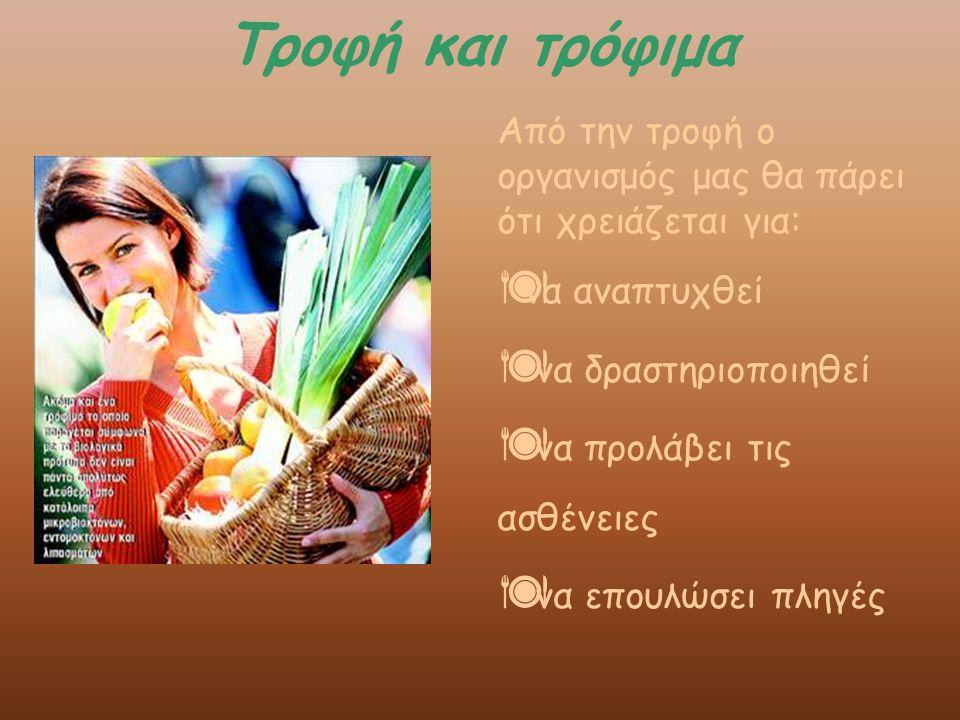Τροφή και τρόφιμα Από την τροφή ο οργανισμός μας θα πάρει ότι χρειάζεται για: να αναπτυχθεί. να δραστηριοποιηθεί.