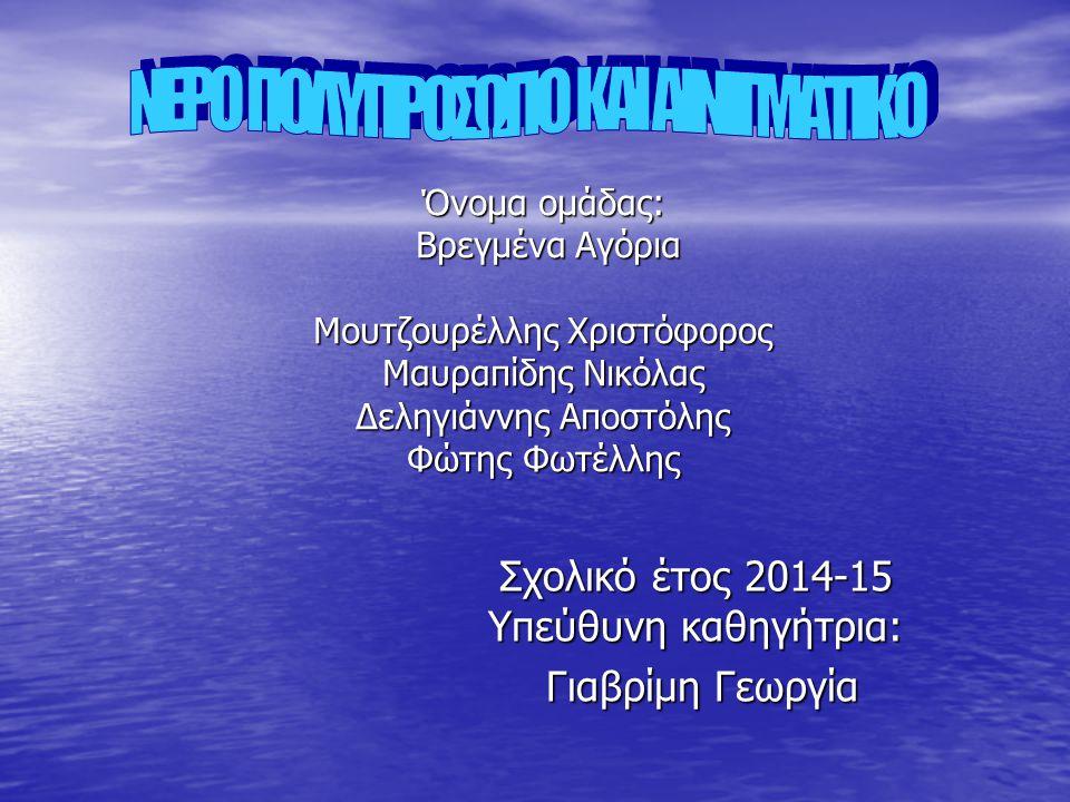 Σχολικό έτος 2014-15 Υπεύθυνη καθηγήτρια: Γιαβρίμη Γεωργία