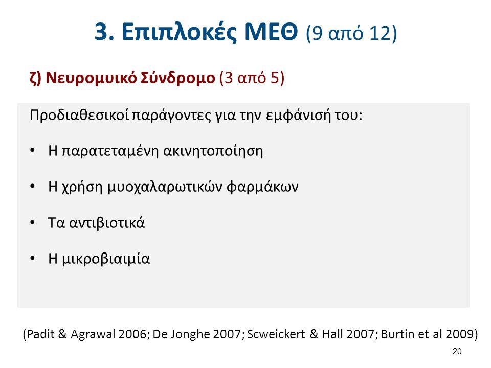 3. Επιπλοκές ΜΕΘ (10 από 12) ζ) Νευρομυικό Σύνδρομο (4 από 5)