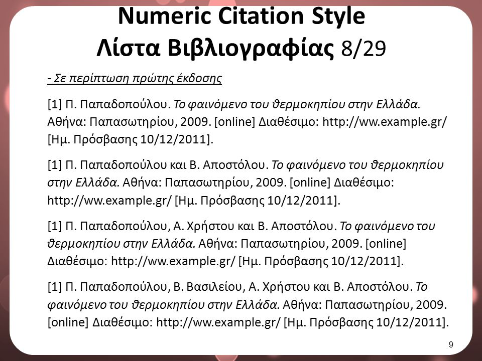 Numeric Citation Style Λίστα Βιβλιογραφίας 9/29