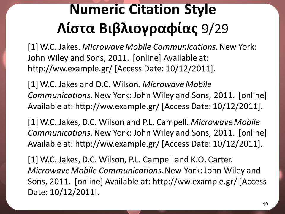 Numeric Citation Style Λίστα Βιβλιογραφίας 10/29