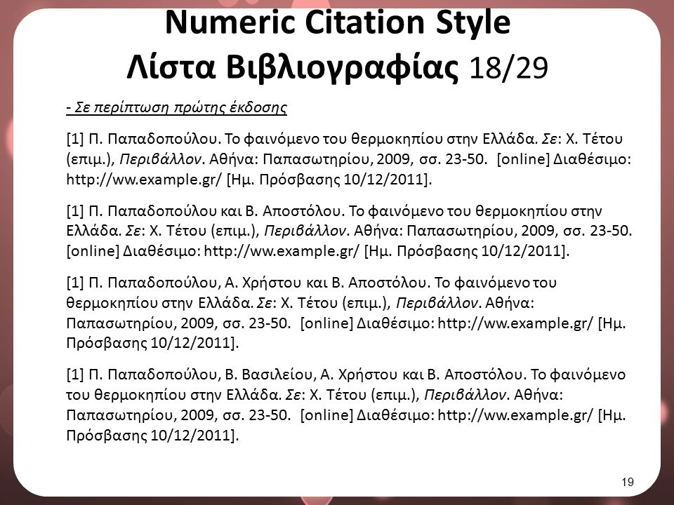 Numeric Citation Style Λίστα Βιβλιογραφίας 19/29