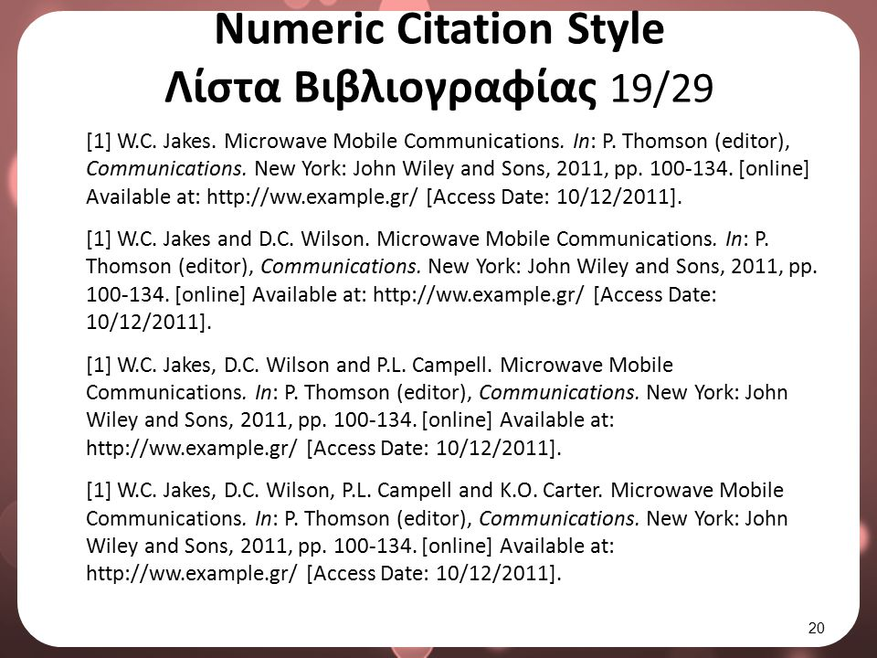 Numeric Citation Style Λίστα Βιβλιογραφίας 20/29