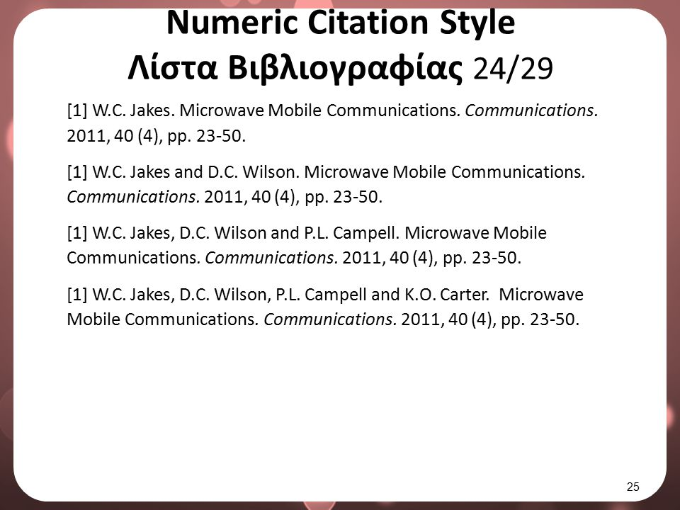 Numeric Citation Style Λίστα Βιβλιογραφίας 25/29