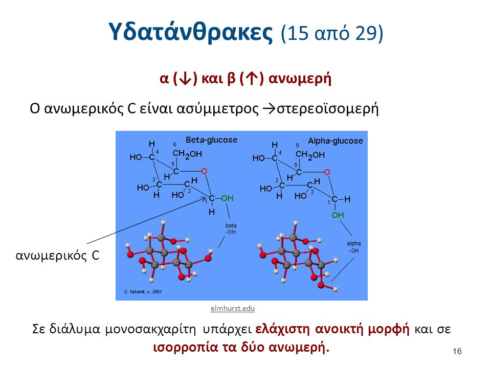 Υδατάνθρακες (15 από 29) α (↓) και β (↑) ανωμερή