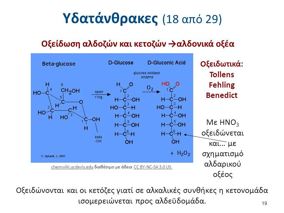 Οξείδωση αλδοζών και κετοζών →αλδονικά οξέα