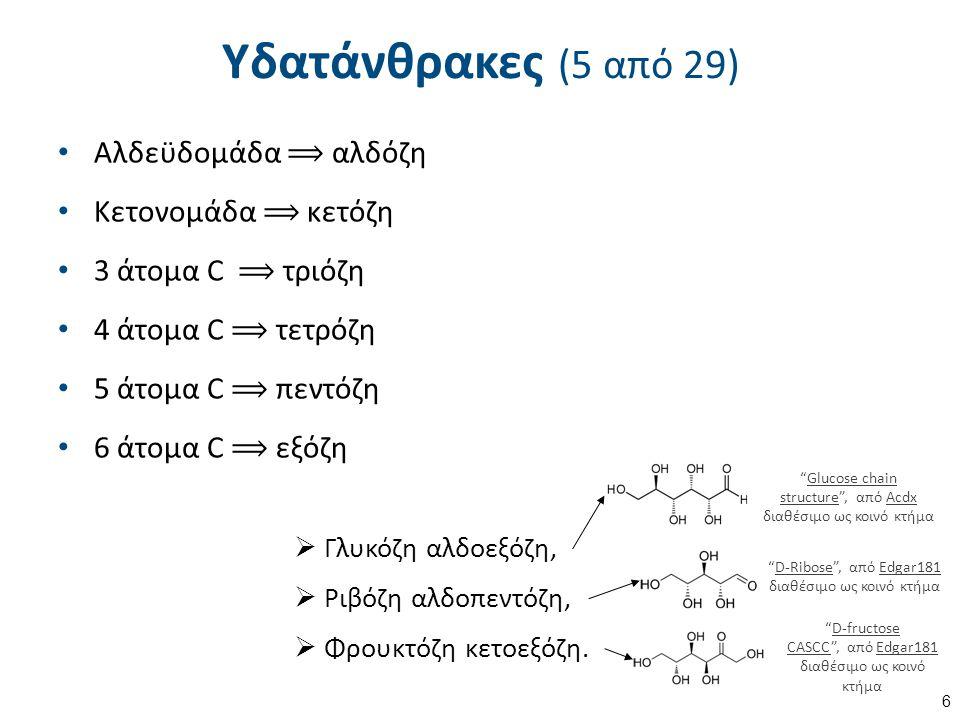 Υδατάνθρακες (5 από 29) Αλδεϋδομάδα ⟹ αλδόζη Κετονομάδα ⟹ κετόζη