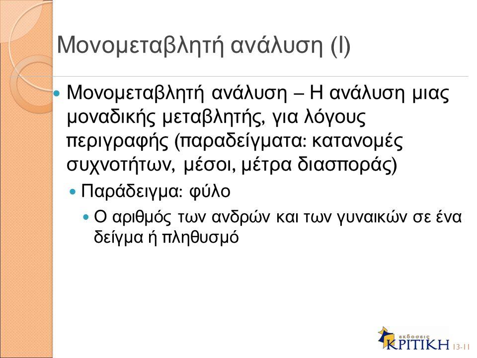 Μονομεταβλητή ανάλυση (Ι)