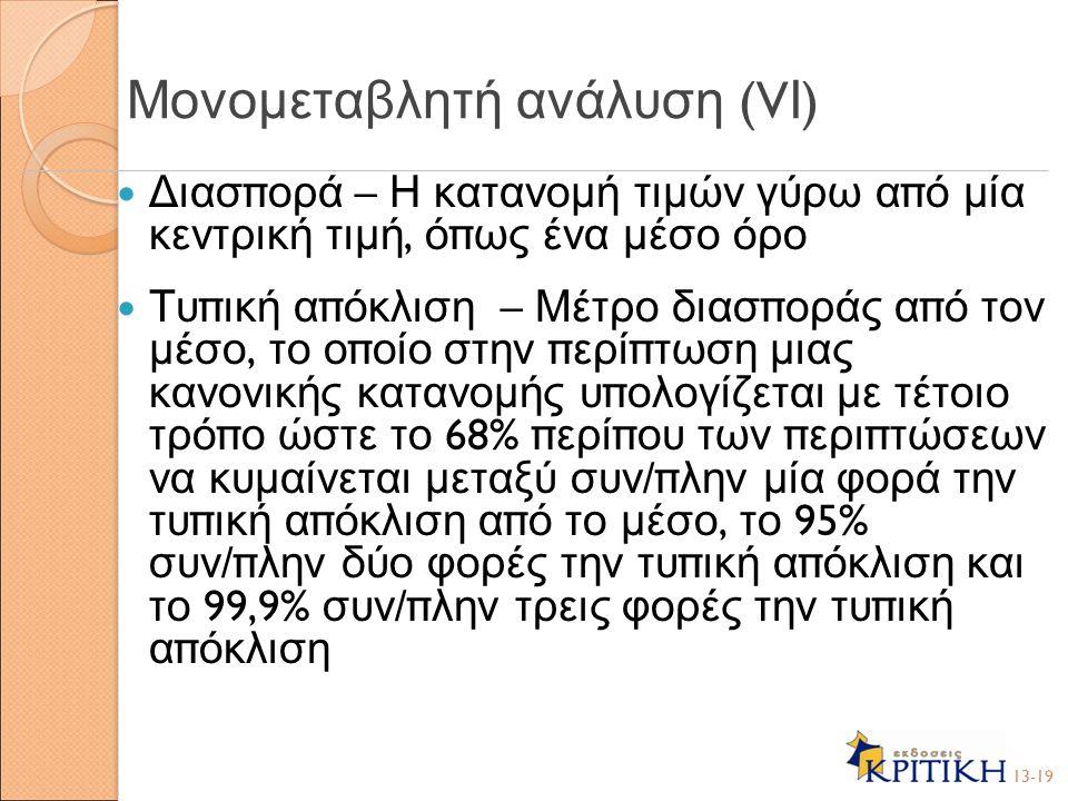 Μονομεταβλητή ανάλυση (VΙ)