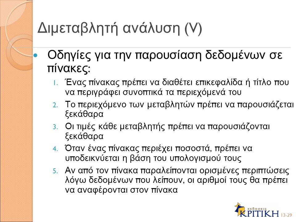 Διμεταβλητή ανάλυση (V)