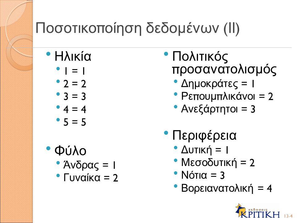 Ποσοτικοποίηση δεδομένων (ΙΙ)