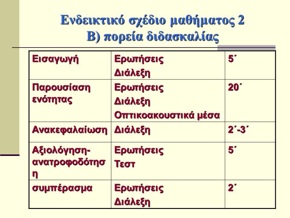 Ενδεικτικό σχέδιο μαθήματος 2 Β) πορεία διδασκαλίας