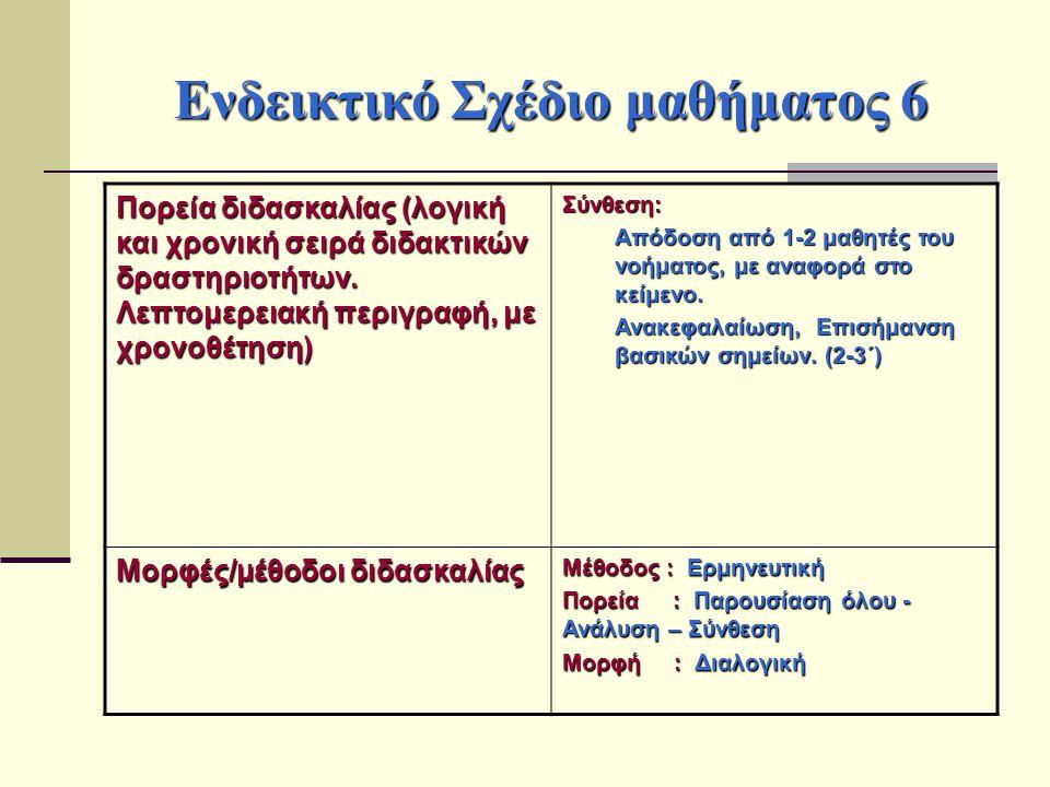Ενδεικτικό Σχέδιο μαθήματος 6