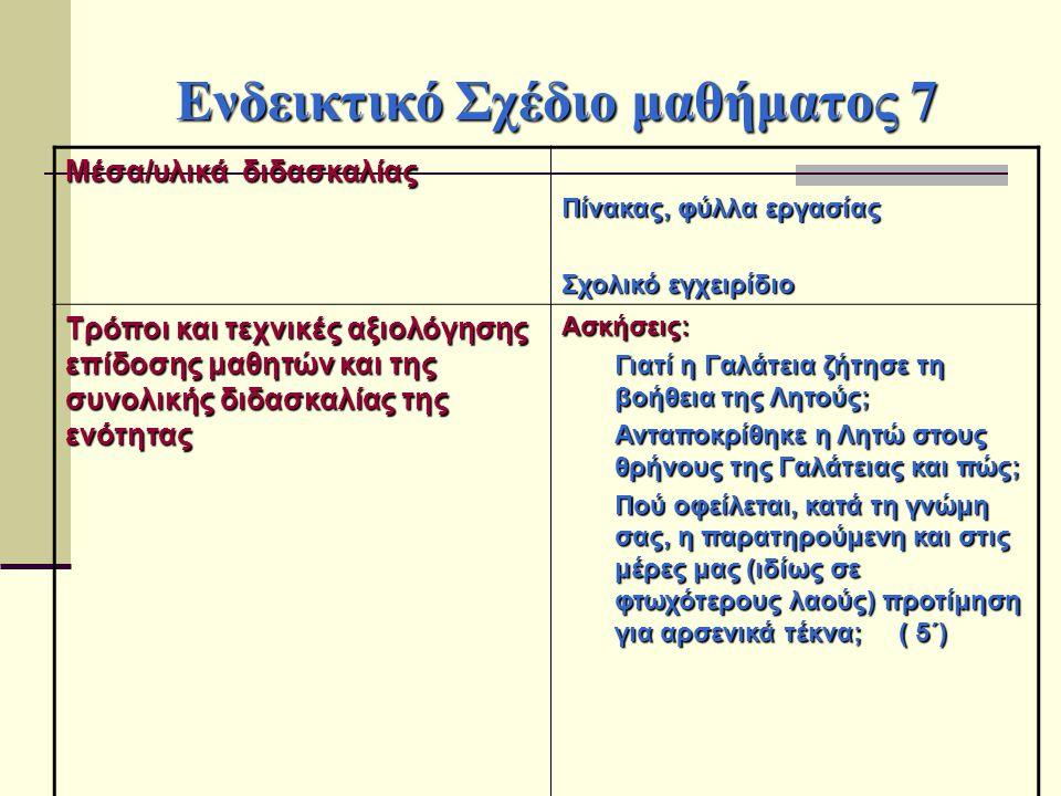 Ενδεικτικό Σχέδιο μαθήματος 7