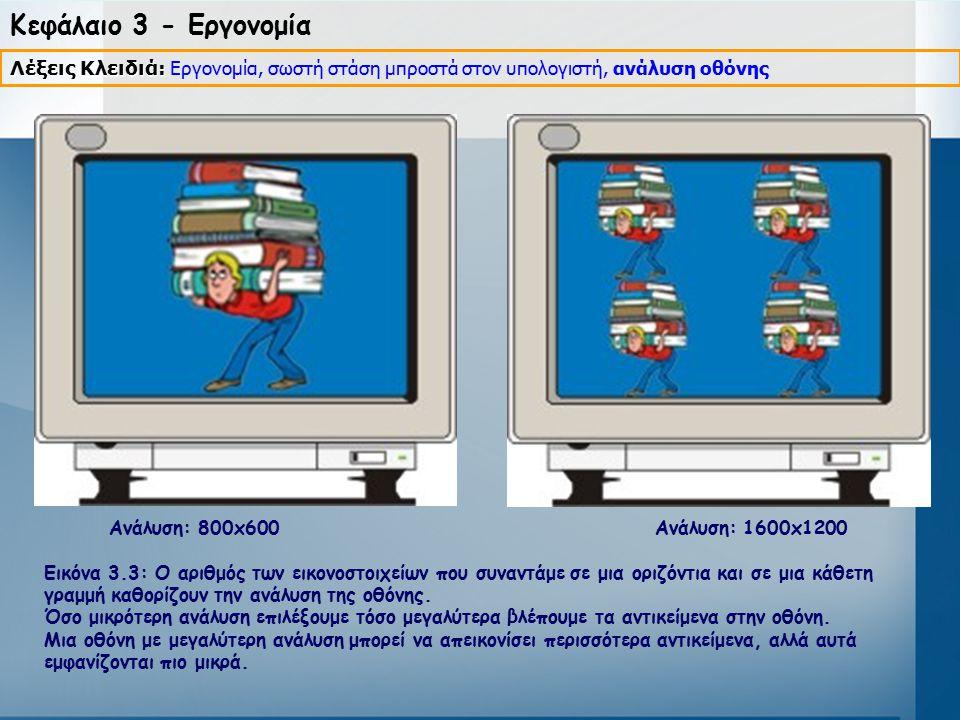 Κεφάλαιο 3 - Εργονομία Λέξεις Κλειδιά: Εργονομία, σωστή στάση μπροστά στον υπολογιστή, ανάλυση οθόνης.