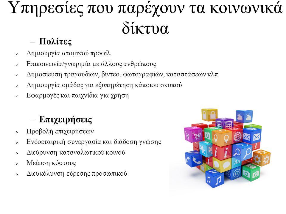 Υπηρεσίες που παρέχουν τα κοινωνικά δίκτυα