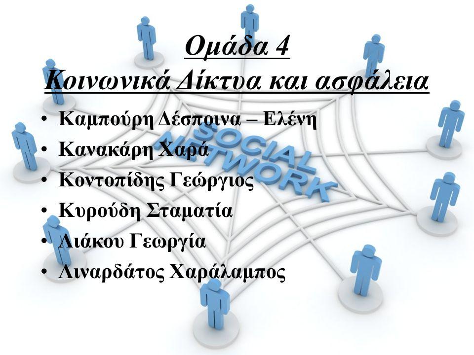 Ομάδα 4 Κοινωνικά Δίκτυα και ασφάλεια