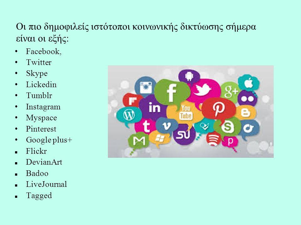 Οι πιο δημοφιλείς ιστότοποι κοινωνικής δικτύωσης σήμερα είναι οι εξής: