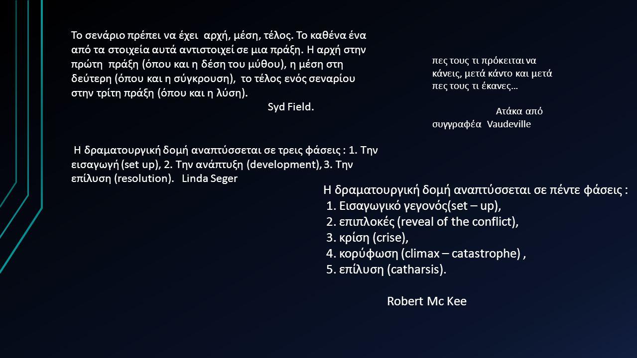 Η δραματουργική δομή αναπτύσσεται σε πέντε φάσεις :
