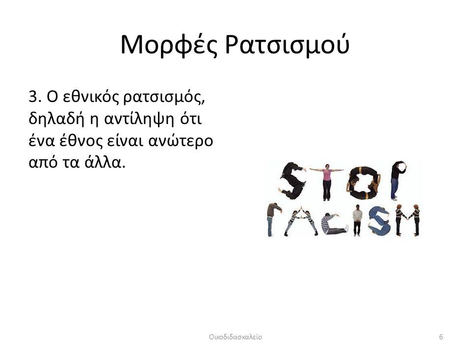 Μορφές Ρατσισμού 3. Ο εθνικός ρατσισμός, δηλαδή η αντίληψη ότι ένα έθνος είναι ανώτερο από τα άλλα.