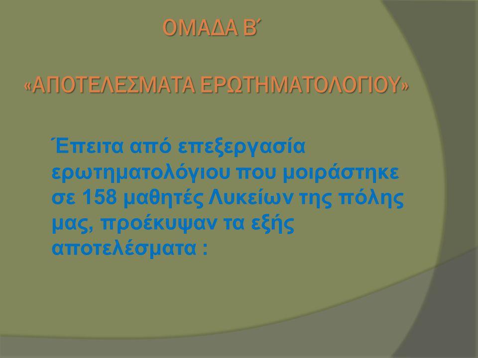 ΟΜΑΔΑ Β΄ «ΑΠΟΤΕΛΕΣΜΑΤΑ ΕΡΩΤΗΜΑΤΟΛΟΓΙΟΥ»