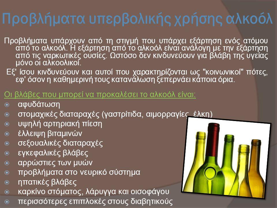 Προβλήματα υπερβολικής χρήσης αλκοόλ