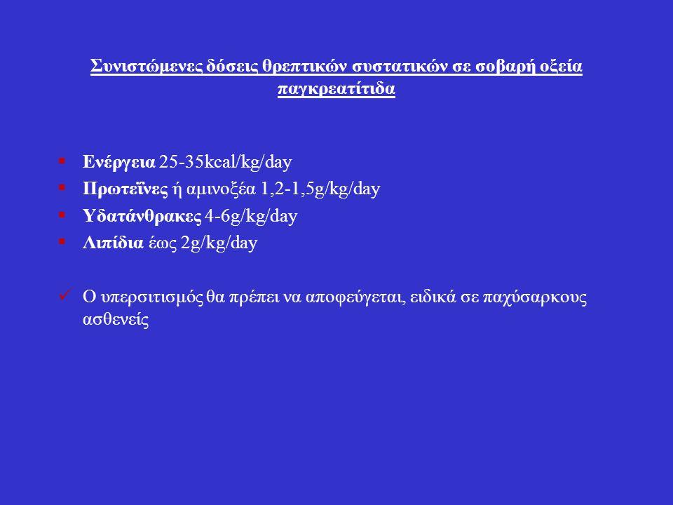 Συνιστώμενες δόσεις θρεπτικών συστατικών σε σοβαρή οξεία παγκρεατίτιδα