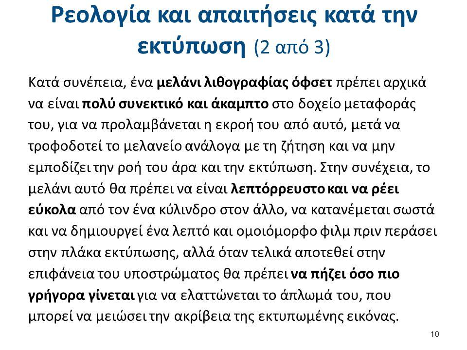 Ρεολογία και απαιτήσεις κατά την εκτύπωση (3 από 3)